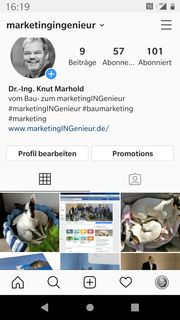 Instagram-Profil von marketingINGenieur Dr.-Ing. Knut Marhold